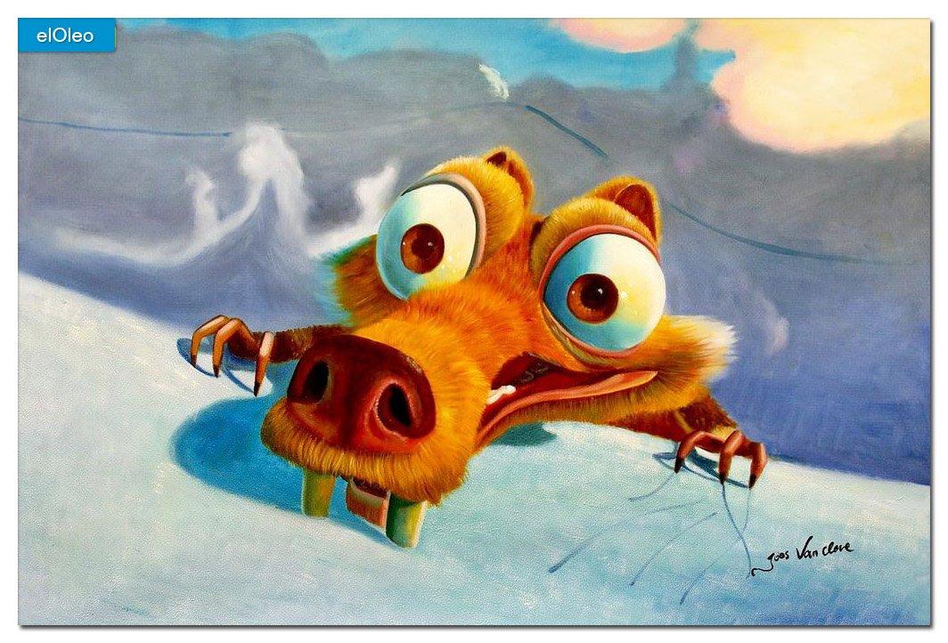 elOleo – Homage to Ice Age Scrat 60×90 Gemälde auf Leinwand handgemalt 83365A günstig online kaufen