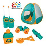 12 Piece Kids Tent Camping Set – Includes Big Tent, Telescope, 2 Walkie Talkies,Water Bottle, Shovel, Multifunctional Whistle, Compass, Flashlight, Thermometer - For Boys & Girls age 3 - 12 yrs old