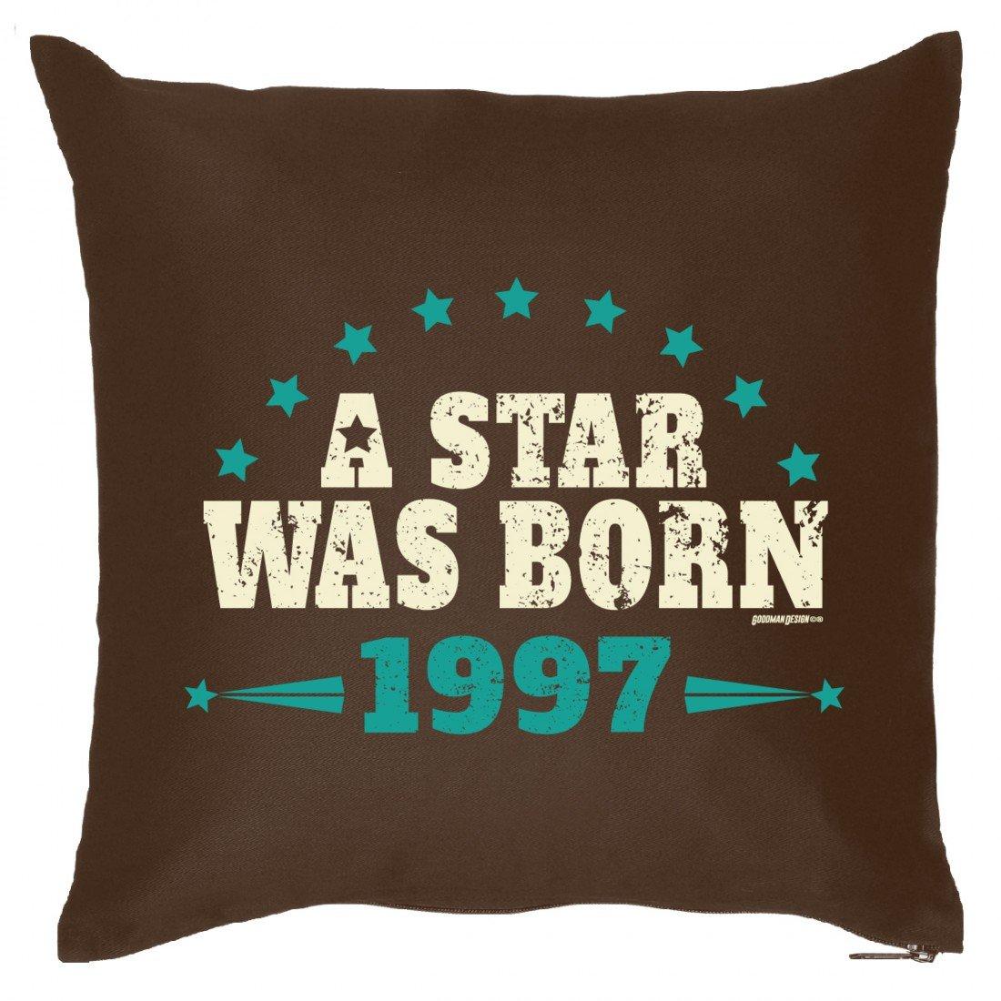 Couch Kissen mit Jahrgang zum Geburtstag – A Star was born seit 1997 – Sofakissen Wendekissen mit Spruch und Humor online kaufen