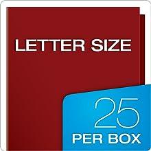 Oxford Showfolio Laminated Twin Pocket Folders, Letter Size, Crimson, 25 per Box (51718)