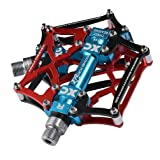 RockBros Mountain Bike Pedals Platform Cycling Sealed Bearing Alloy Flat Pedals 9/16 (Color: Black Red)