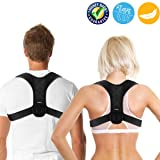 Posture Corrector for Men and Women, Adjustable Clavicle Brace,Improve Thoracic Kyphosis, Shoulder Support, Upper Back & Neck Pain Relief (REG 28''- 42'') (Color: Black, Tamaño: 28-42 inches)