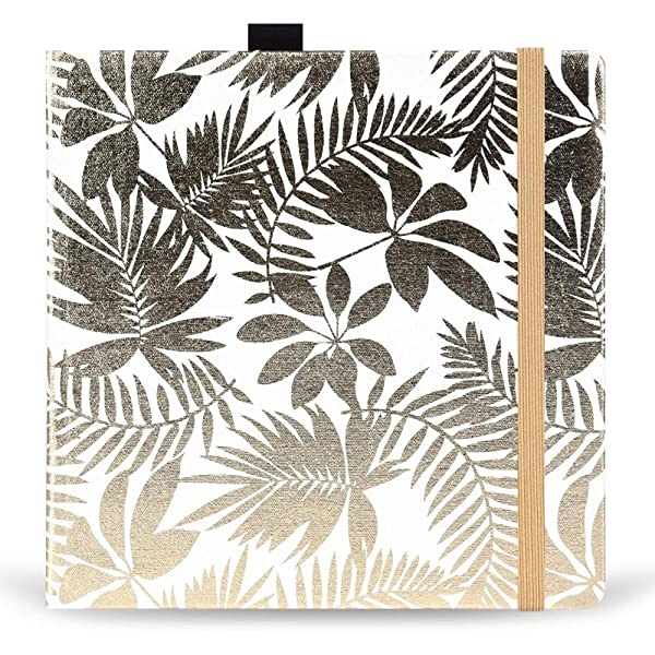 Square 8X8 300gsm Watercolor Journal Hardbound 40pgs(20 Sheets Front Back 2 Textures)Travel Size for Calligrapher Colored Pencil Watercolor Sketch Handmade Cloth Cover Notebook Golden Leaf (Color: golden leaf)