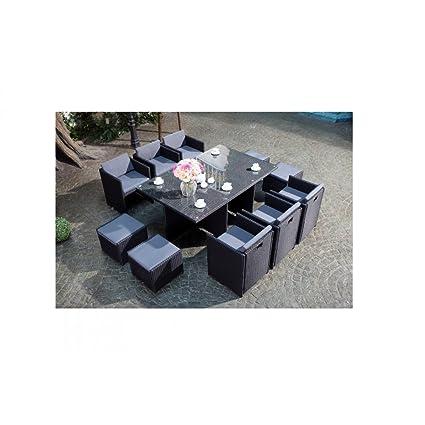Le Vito : Salon jardin noir encastrable en résine 10 personnes