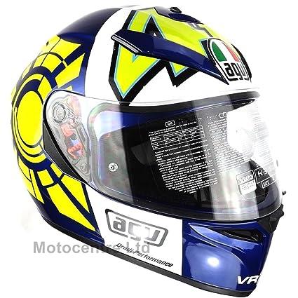 Nouveau casque de moto bleu hiver Test AGV K3 Rossi Sv