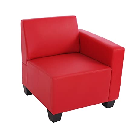 Modular Seitenteil rechts, Sessel mit Armlehne Lyon, Kunstleder ~ rot