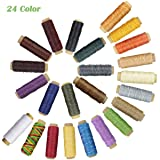 24 Colors Waxed Thread,Colorful Leather Thread, Leather Sewing Thread,Hand Stitching Thread for Hand Sewing Leather and Bookbinding (Color: 24 Colors Thread)