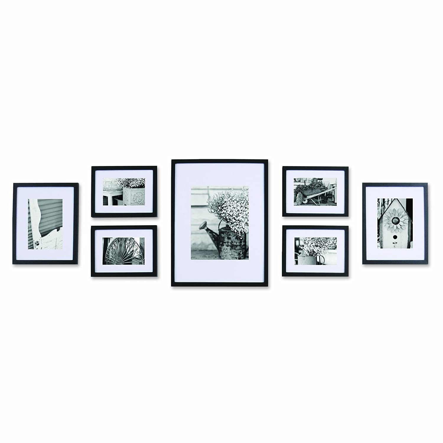 Pinnacle Black 7 Pc Solid Wood Picture Wall Frame Kit Art