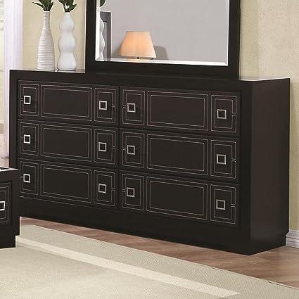 Elijah 6 Drawer Dresser with Leatherette Front Drawers