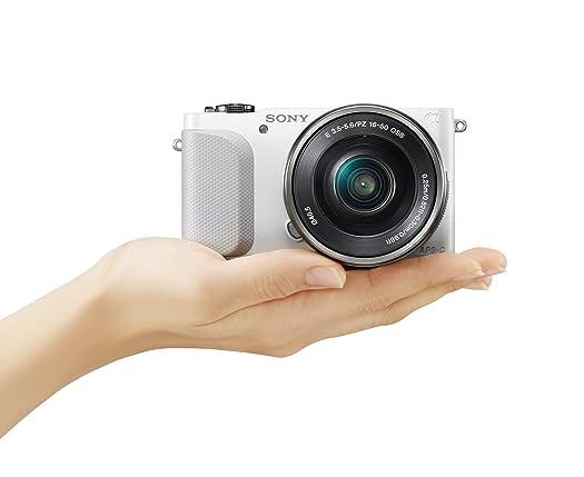 white sony nex-3n hand