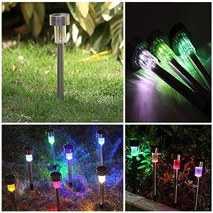 Mulslect Solar Garden Lights Color Waterproof LED Light Landscape Garden Lights Stainless Steel Waterproof Lamp Path Lights-12 Pack (Color: Multi)