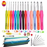 Crochet Hooks Set,14 Sizes 2 mm(B)-10 mm(N) Ergonomic Crochet Needles with Case for Arthritic Hands,Extra Long Aluminum Hooks Kit with Soft Handle (Tamaño: 14 Sizes)