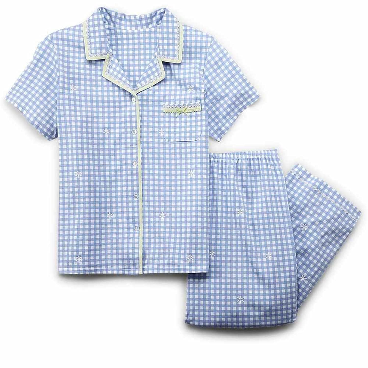 цена Laura Scott Womens Blue Check Pajamas Lightweight Short Sleeve Pajama Set онлайн в 2017 году