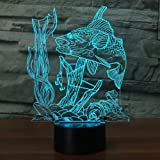 3D Fishing Lamp Illusion Night Light LED Touch Fish Desk Table Lamps 7 Color Change USB 3D Visual Lights Home Bedroom Decor Lighting Birthday Gifts Toys for Boys Kids Fishing Lover by YKL WORLD (Color: Fishing)