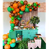 100Pcs Balloon Garland & Arch Kit-100pcs Green Orange Brown Latex Balloons, 16 Feets Arch Balloon Strip Tape, Glue Dots, Tying Tool for Jurassic Dinosaur Party Jungle Party Woodland Creatures Party (Color: Green Dark Green Orange Brown)