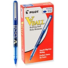 Pilot VBall Liquid Ink Stick Rolling Ball Pens, Fine Point, Blue Ink, Dozen Box (35113)