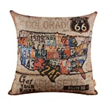 "LINKWELL 18""x18"" Vintage American Map USA Route 66 Burlap Cushion Covers Pillow Case"