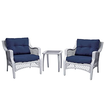 3 Piece Outdoor Patio Wicker Furniture Set With Deep Seat Cushions (Blue)
