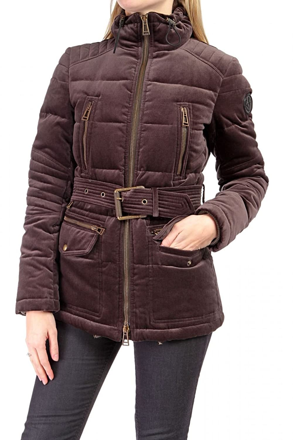 Belstaff Black Label Damen Jacke BARRETT CHANNEL QUILTED PIUMINO, Farbe: Braun