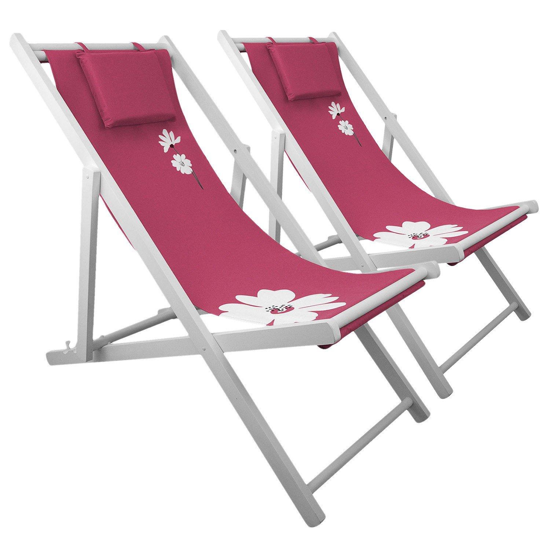 2x Liegestuhl 4-fach verstellbar Campingstuhl Strandstuhl Gartenstuhl Klappstuhl Strandliege Campingliege - Pink