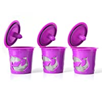 3 pk, Prime Quality Reusable Single-serve K-cups Coffee Mesh Filter Cups in Purple