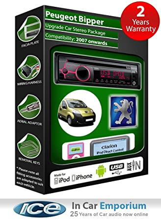 Peugeot Bipper Autoradio CD MP3 radio play Clarion, iPod, iPhone, Android