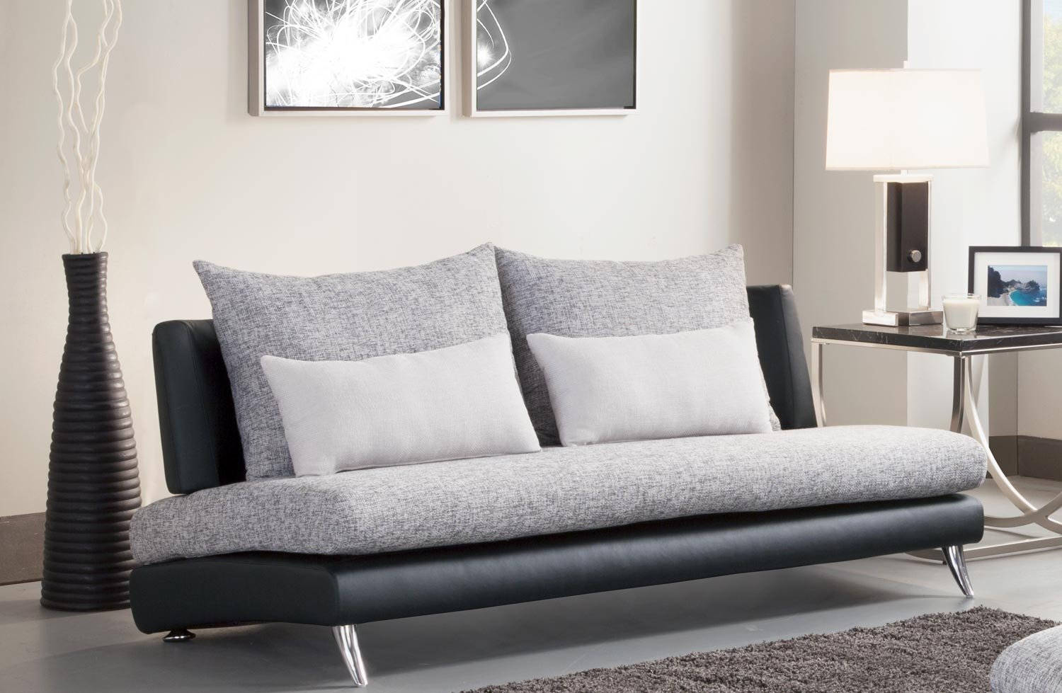 Renton Collection Armless Sofa in Black and Gray by Homelegance