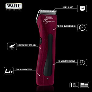 Wahl Professional Animal Figura Lithium Ion Red Clipper Kit #8868-100 (Color: Metallic Red)
