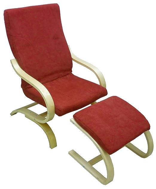 Poltrona sedia divano con poggiapiedi sgabello in legno naturale e cuscino rosso imbottito