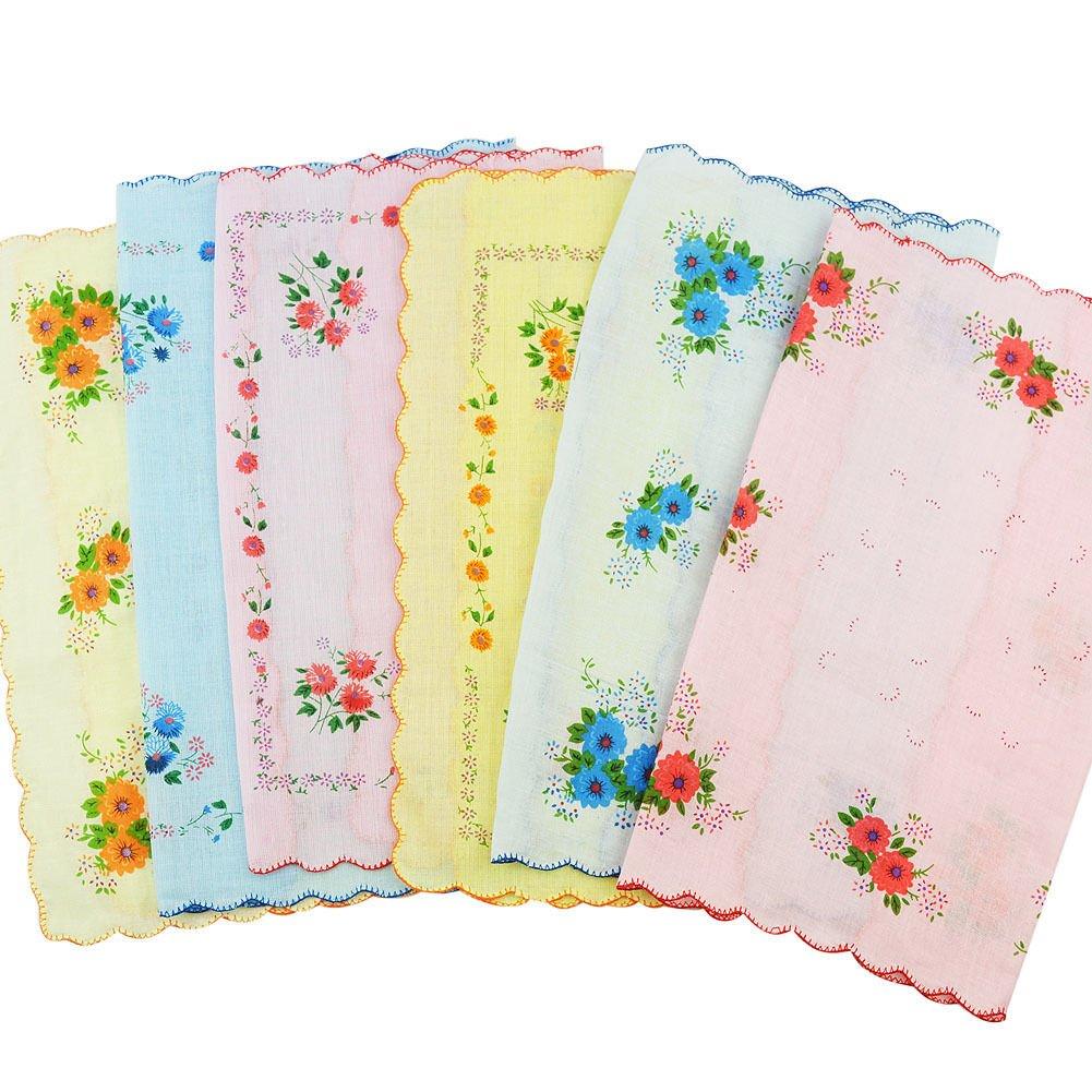 CANIS 12pcs/Set Lot Ladies Women Vintage Cotton Quadrate Hankies Floral Handkerchief 0