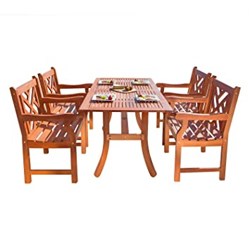 VIFAH V187SET2 Outdoor Wood 5-Piece Dining Set, Natural Wood Finish, 59 by 36 by 29-Inch