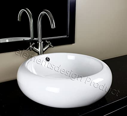Bathroom Ceramic Vessel Sink 7470N6 With Brushed Nickel Faucet & Drain