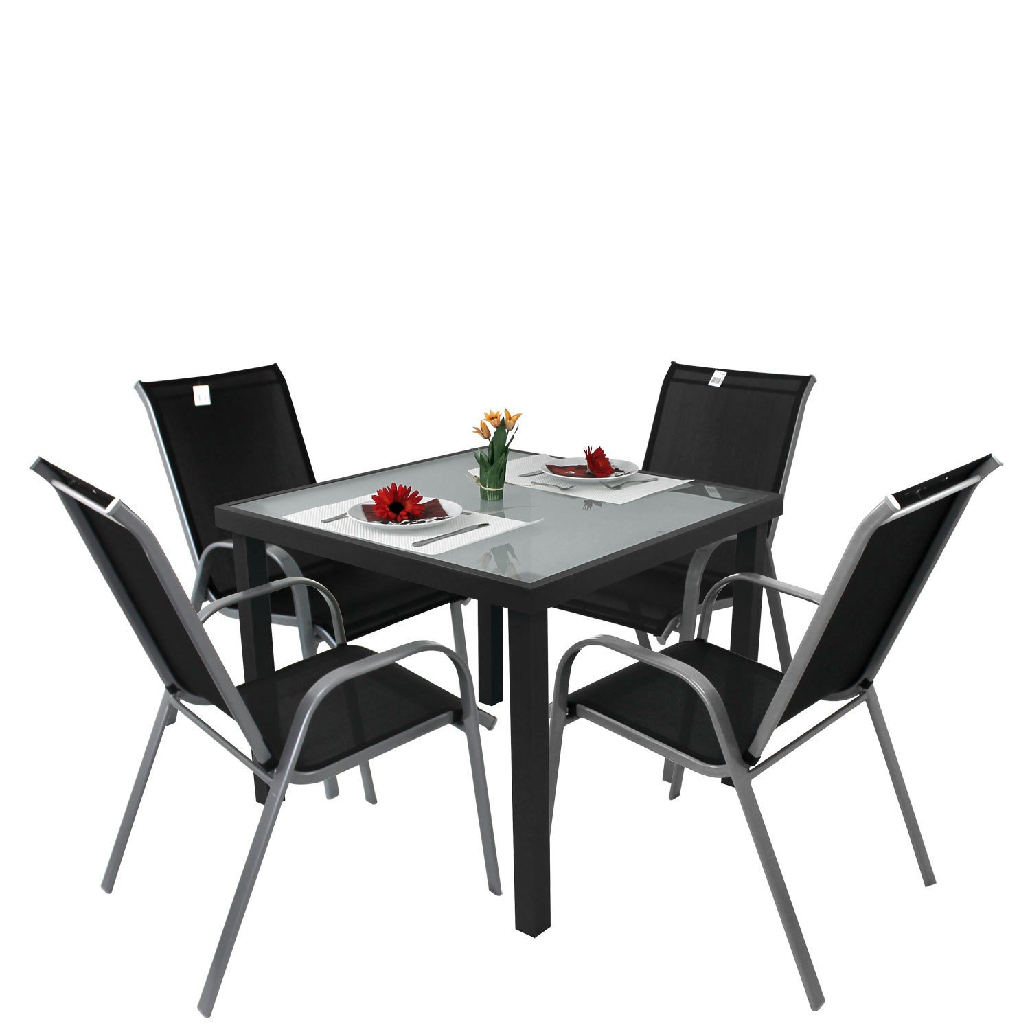 5tlg bistrogarnitur bistro set balkonm bel aluminium bistrotisch glastisch 90x90cm gartenstuhl. Black Bedroom Furniture Sets. Home Design Ideas