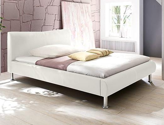 Polsterbett Bett Rina weiß Kunstleder Ehebett Bett Doppelbett Bettgestell Kunstleder , Liegefläche:100 x 200 cm