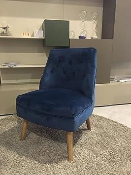 TXT Sessel Stuhl in Samt gepolstert mit Fuße aus Holz 54x 62x H73cm blau