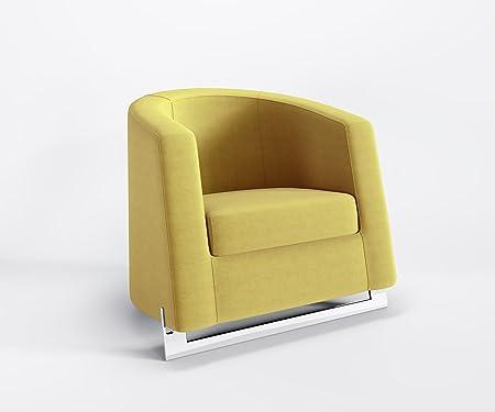 Sessel Hotel Buro Bar Designer Polster samtweich qualitative Mikrofaser, NOBLE C, Farbe:Gelb - TK184