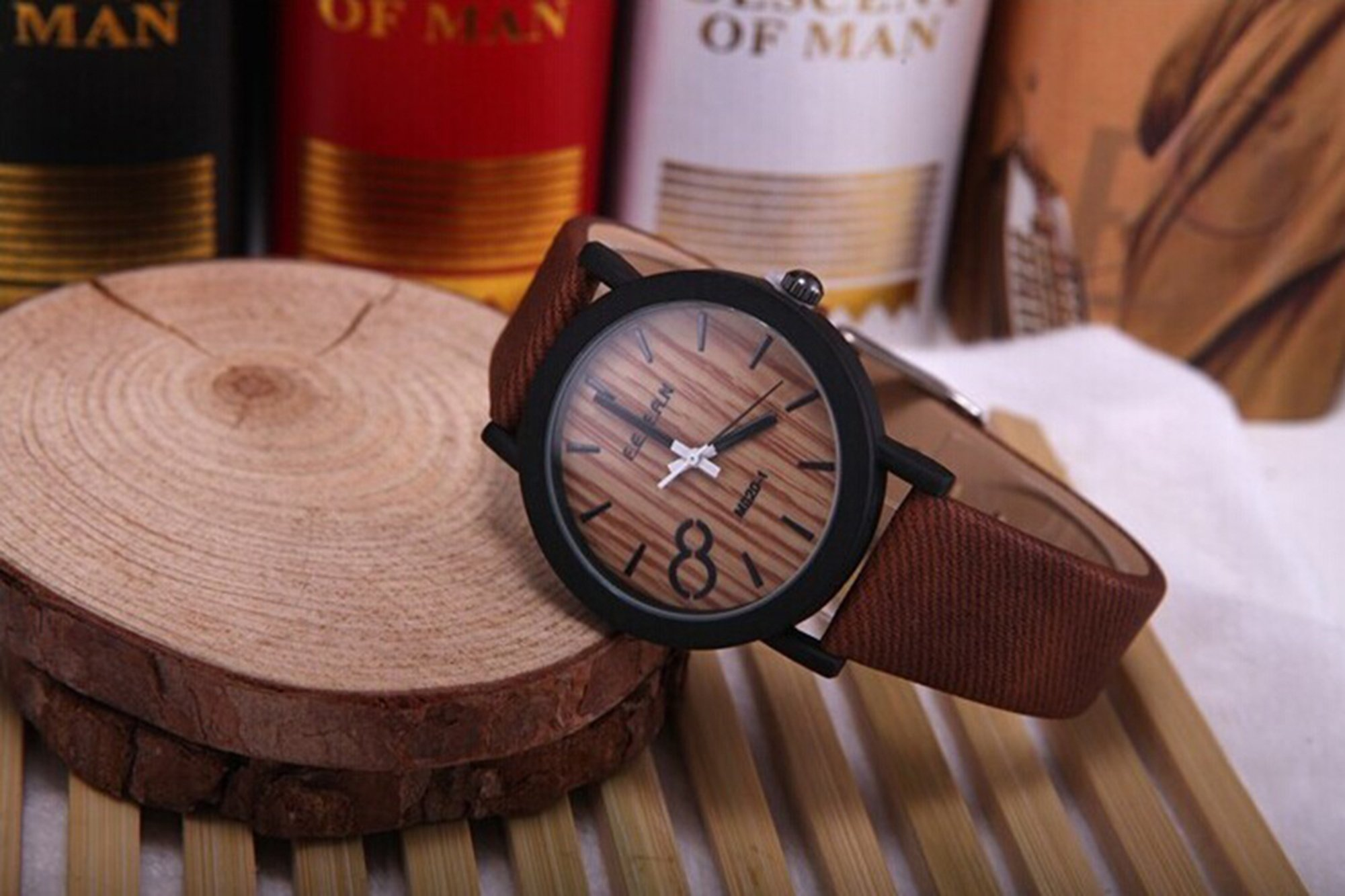 A wooden watch looks elegant but costs less than 10 dollars.