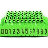 Livestocktool Pig Ear Tags Green Medium Plastic Livestock Ear Tags for Hog Swine Sow Ear Tags with Number 001-100 (cattle, green) (Color: green)