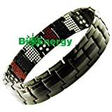 Anion Magnetic Energy Germanium Power Bracelet Health 4in1 Bio Armband Titanium 251 (Color: Blacks and silver, Tamaño: Please message us on bioenergy2013@hotmail.com for a query and sizes you need)