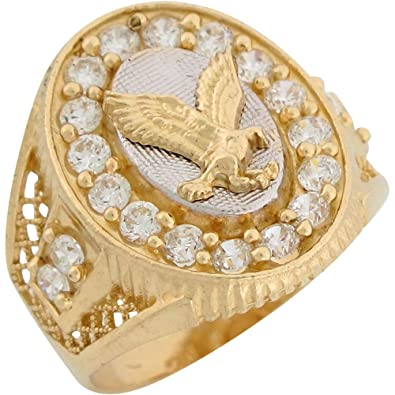14ct Two Colour Gold White CZ Patriotic Flying Eagle Mens Ring
