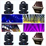 Roccer 4Pcs/lot With Flight Case DMX 16/20 Channels 7R Sharpy Beam 230W Moving Head Light Black For Wedding Christmas Birthday DJ Disco KTV Bar Event Party Show (4Pcs With Flight Case)