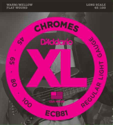 D'Addario Ecb81 Chromes Bass Guitar Strings, Light, 45-100, Long Scale