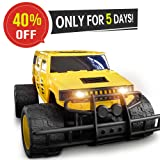 Double E 1:14 Giant Wheel RC Truck 2.4Ghz Radio,Rechargeable Battery Remote Control Car,Yellow