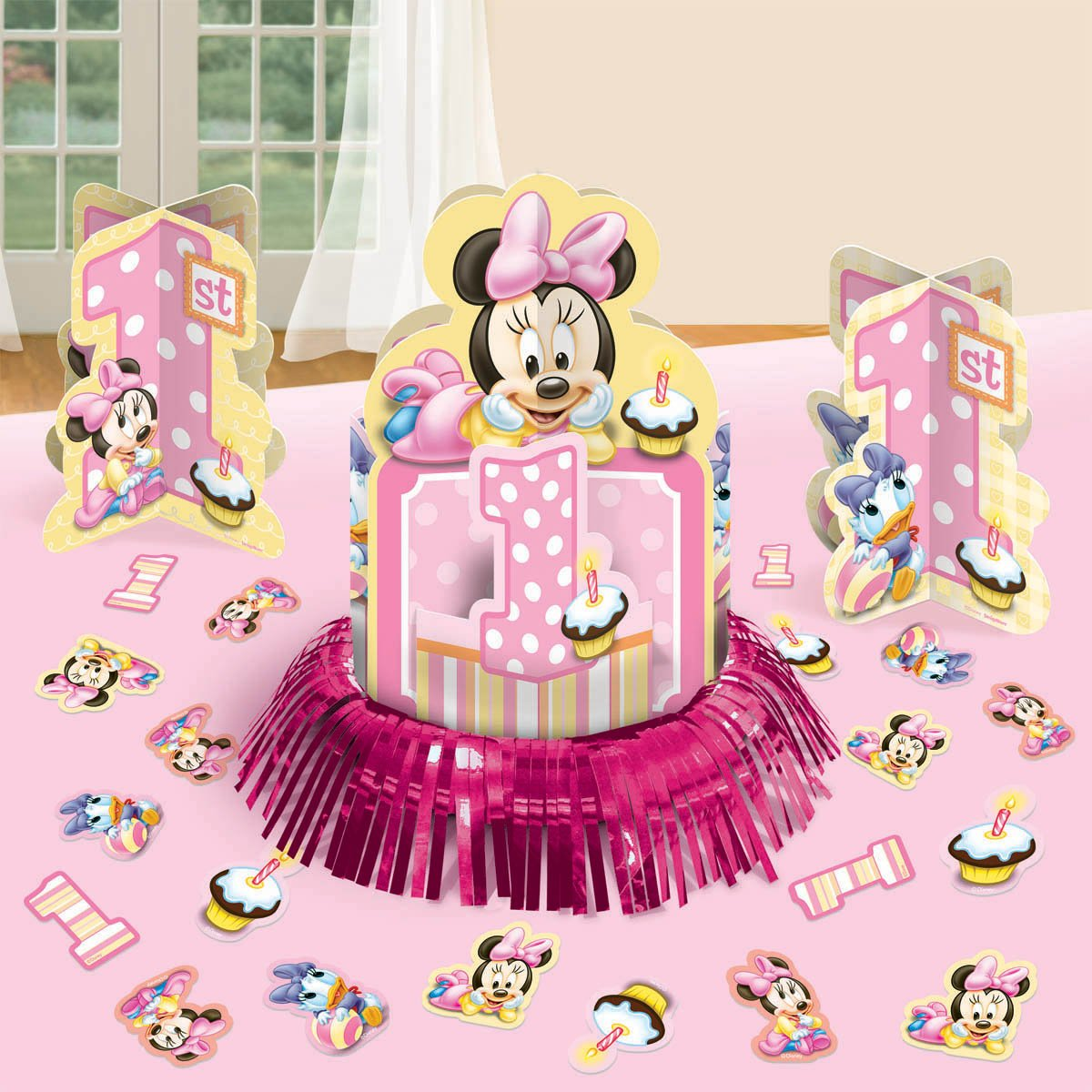 Baby minnie mouse decorations best baby decoration for Baby birthday decoration photos