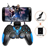XFUNY Wireless Bluetooth Game Controller Rechargeable Gamepad for Android / PC / Tablet with Clip and Bag (Blue) (Color: Blue)
