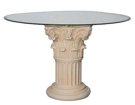 Tavolo da pranzo in vetro rotondo bianco-opaco 100 cm