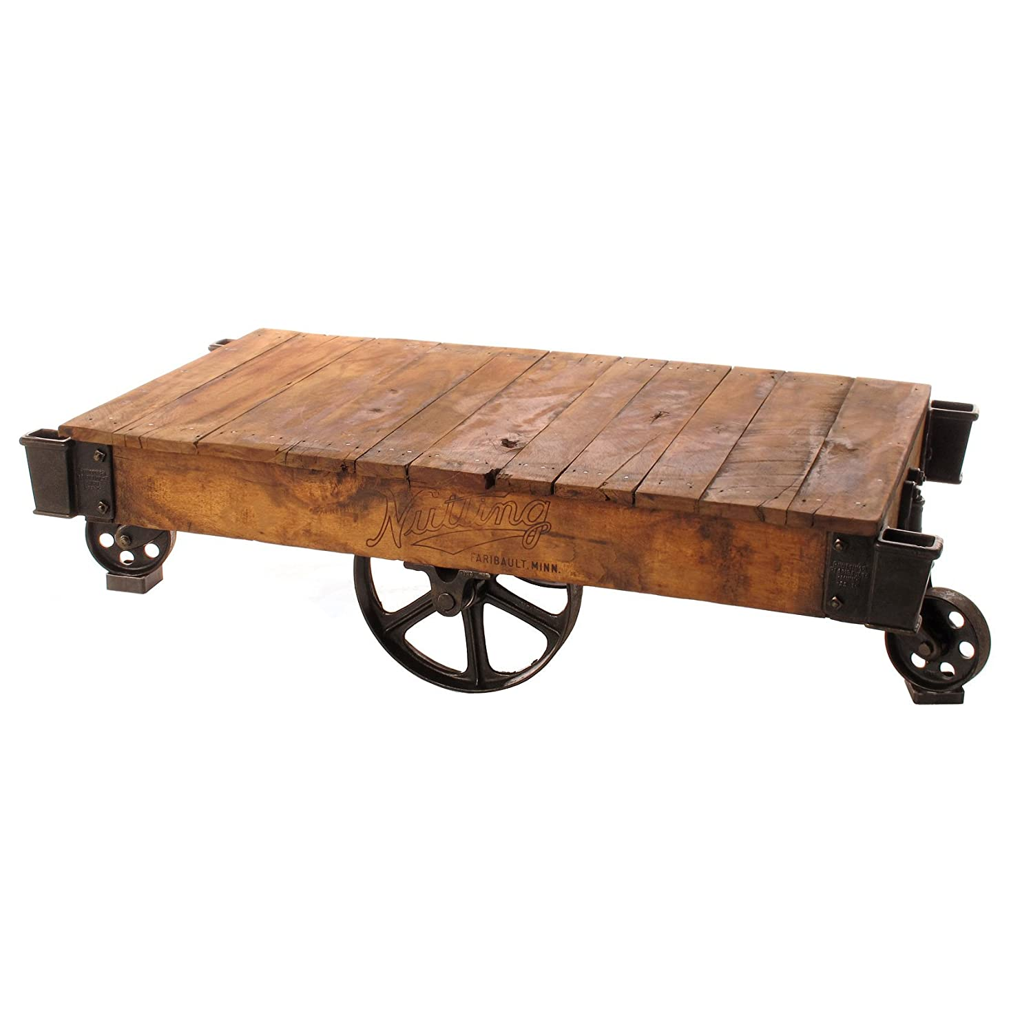 Rustic Industrial Urban Metal Distressed Coffee Table Made From Reclaimed Salvaged Wood