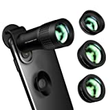 Phone Camera Lens,Kaiess 4 in 1 Cell Phone Lens Kit - 14X Zoom Telephoto Lens + 120° Super Wide Angle + Upgraded 20x Macro Lens + Fisheye Lens Compatible with iPhone X XS Max XR/8/7/6 Samsung Andriod (Color: Upgraded 4 in 1 phone lens)
