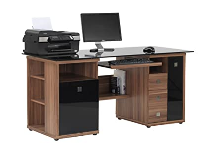 SARATOGA WALNUT EFFECT EXECUTIVE COMPUTER DESK