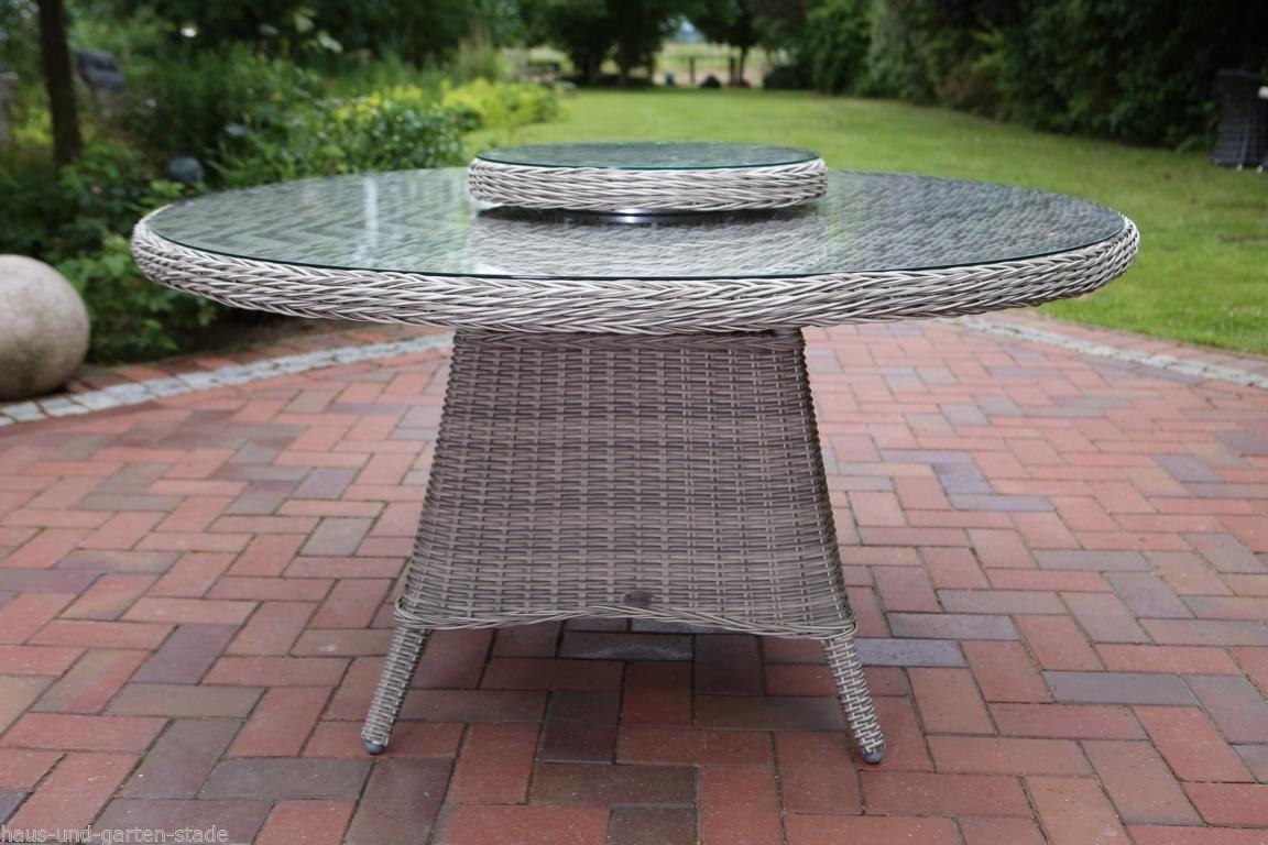 Gartentisch Destiny Luna XL Offwhite Hellgrau 150 cm Tisch Polyrattan Geflechttisch Esstisch mit Drehtablett abnehmbar günstig